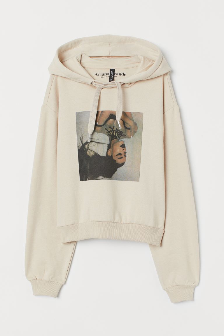 Short hooded top - Light beige/Ariana Grande - Ladies | H&M GB