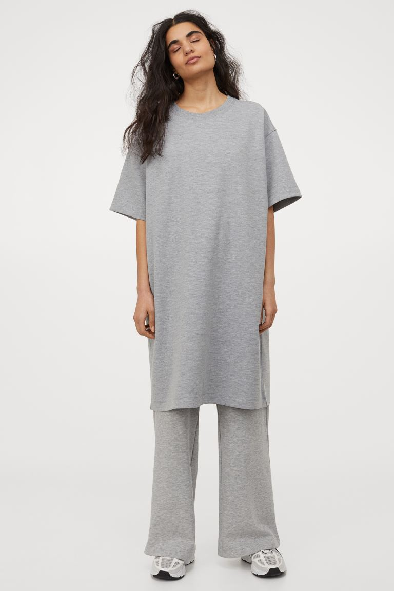 Jersey T-shirt dress - Light grey marl - Ladies | H&M