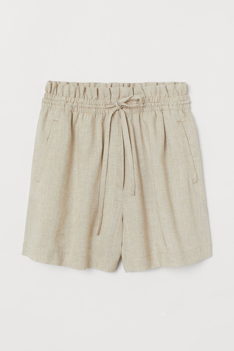 Linen-blend shorts High Waist - Light beige - Ladies | H&M