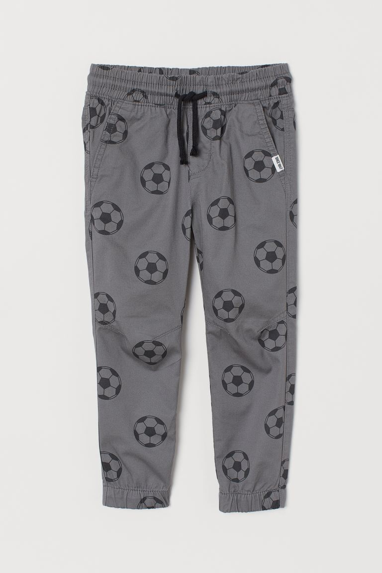 Cotton Pull-on Pants - Gray/soccer balls - Kids | H&M US