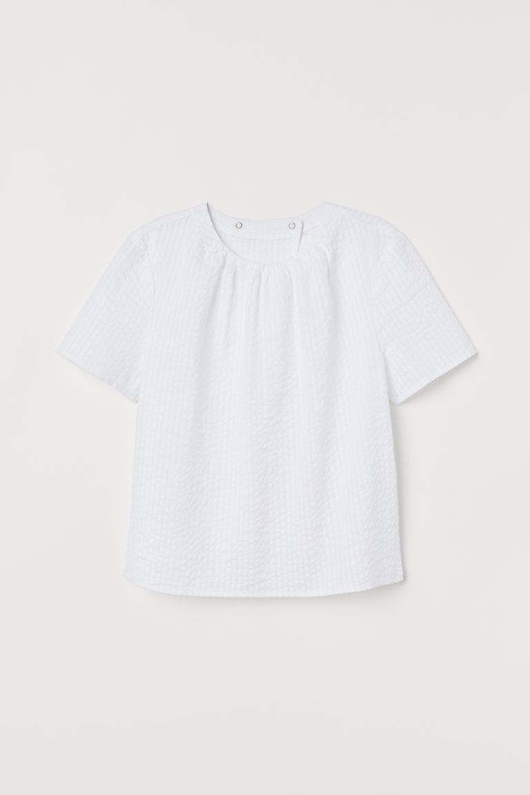 Seersucker Blouse - White - Ladies | H&M US