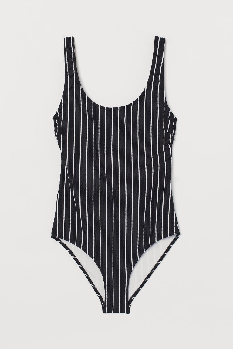 Swimsuit with padded cups - Black/Striped - Ladies | H&M GB