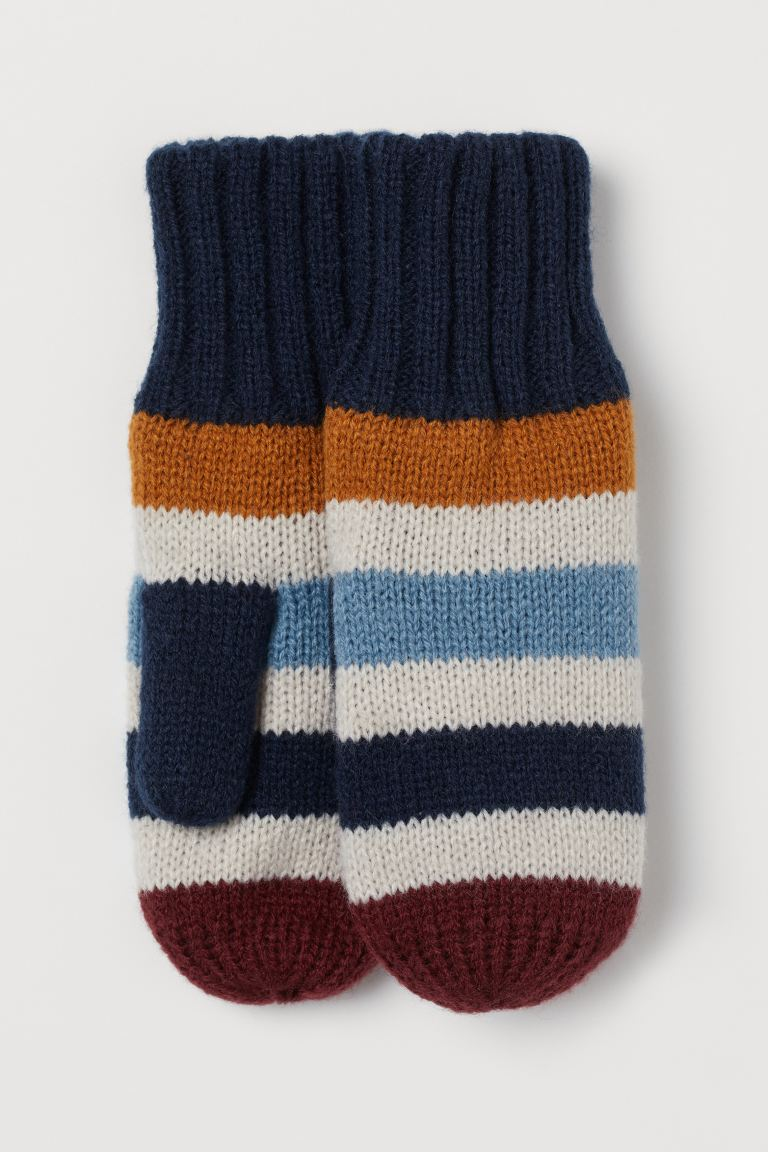 Knit Mittens - Dark blue/multicolor stripes - Kids | H&M CA