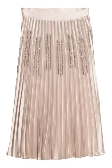 Pleated Skirt - Light beige/rhinestones - Ladies | H&M CA