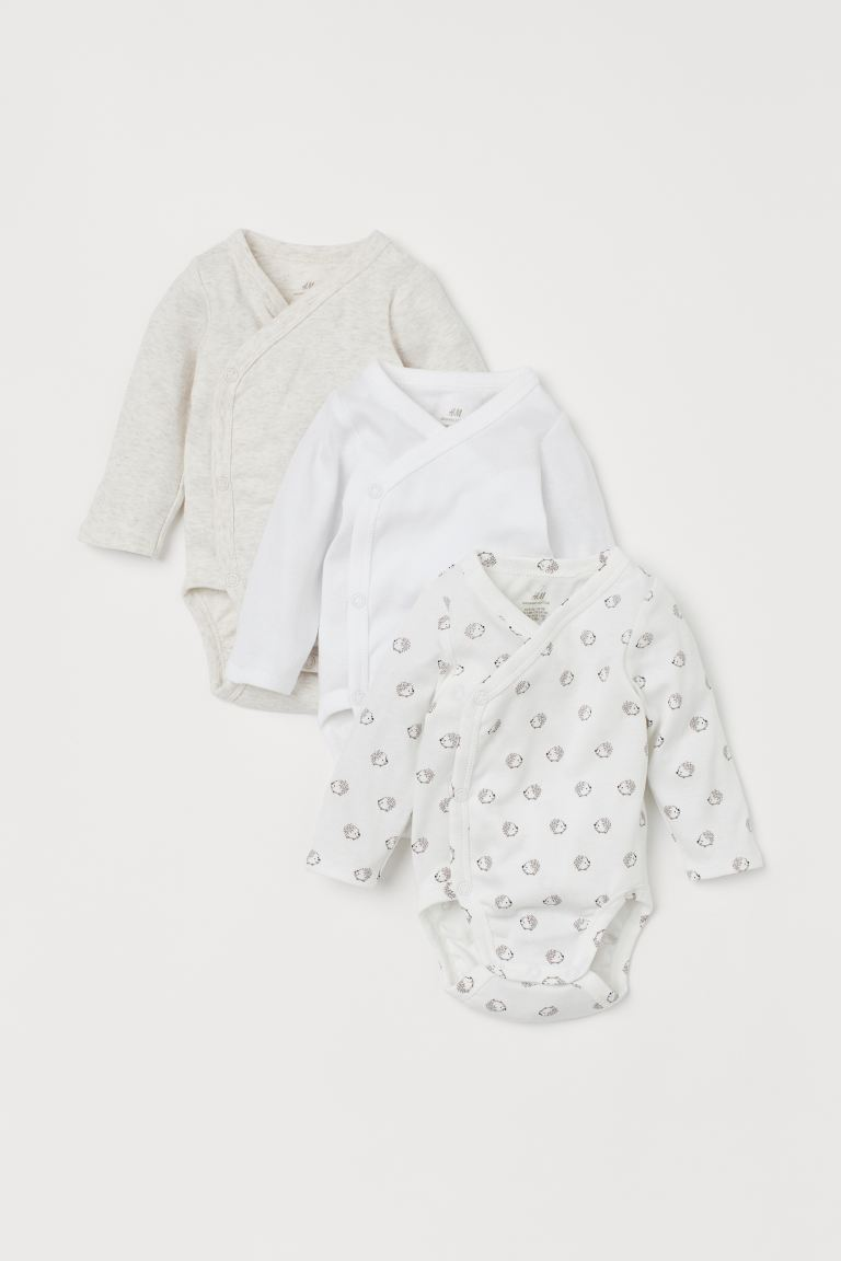 3-pack long-sleeved bodysuits - White/Hedgehogs - Kids | H&M GB