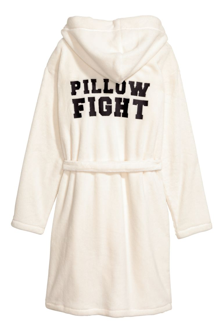 Robe de chambre en polaire - Blanc/Pillow Fight - FEMME | H&M FR