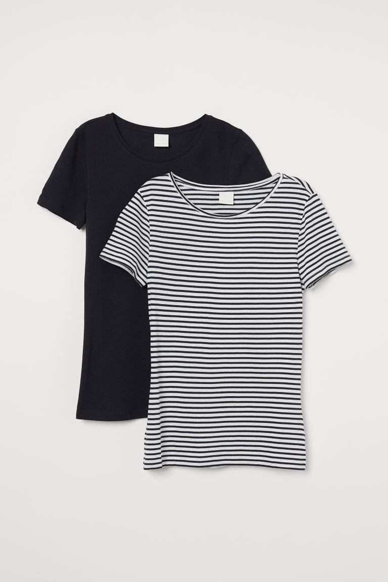 T-shirt in cotone, 2 pz - Blu scuro/righe - DONNA | H&M IT