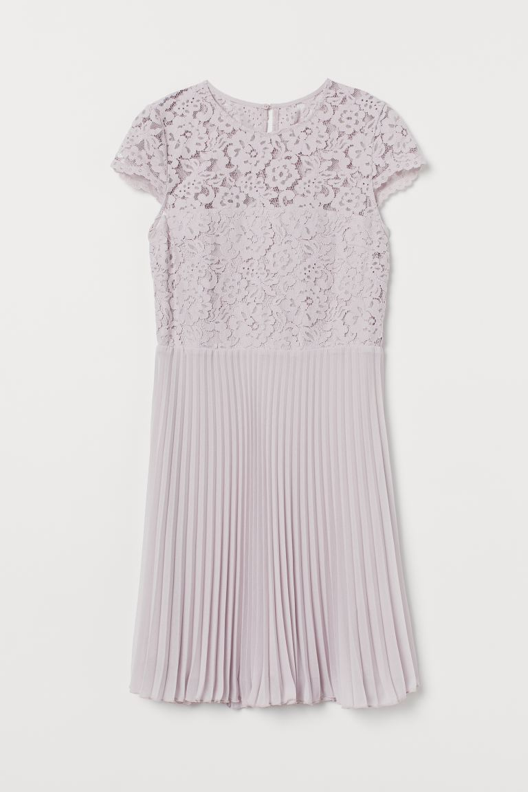 Pleated lace dress - Light purple - Ladies | H&M GB