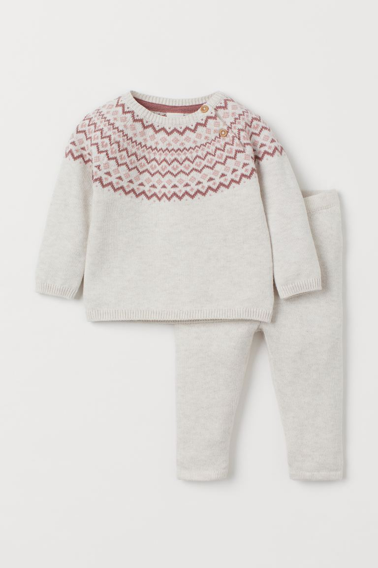 Fine-knit Set - Natural white/pink patterned - Kids | H&M US