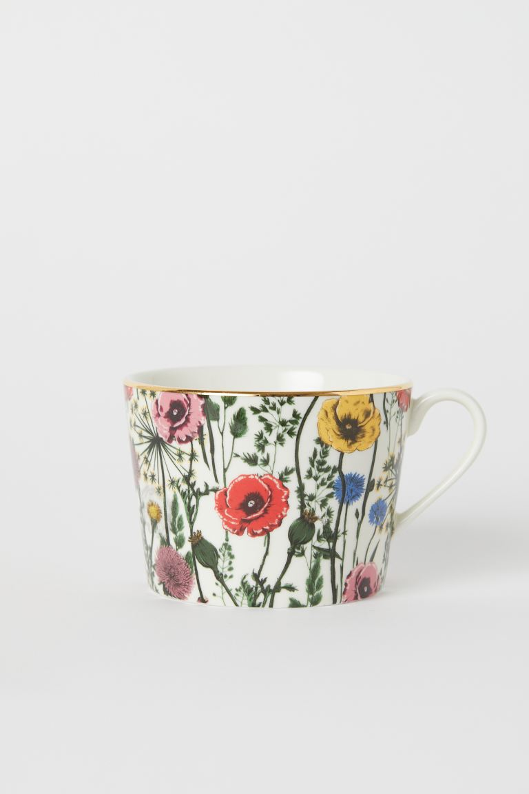 Porcelain mug with a motif - White/Floral - Home All | H&M GB