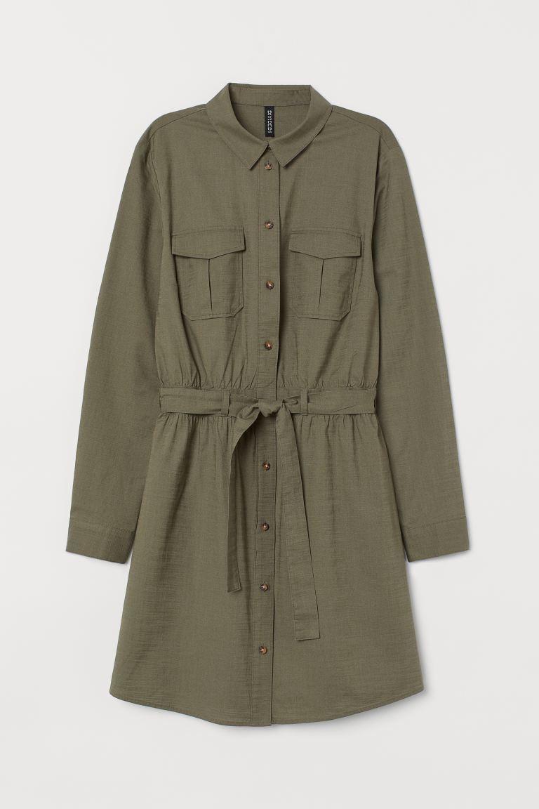 Cotton Utility Dress - Khaki green - Ladies | H&M AU