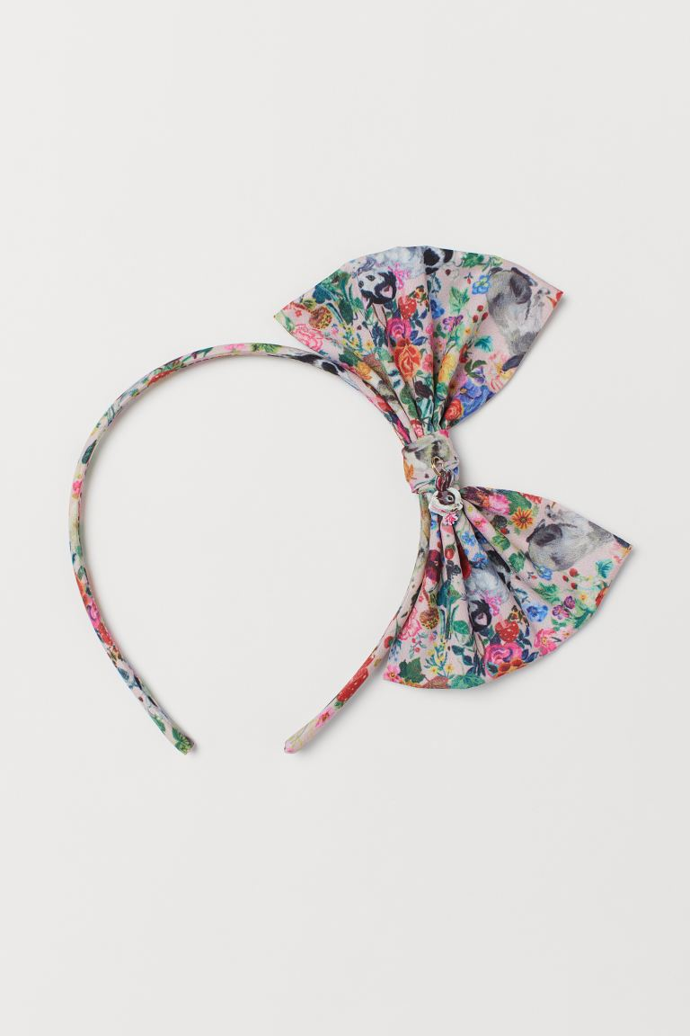 Hairband with Bow - Powder pink/patterned - Kids | H&M US