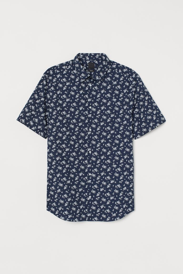 Slim Fit Shirt - Dark blue/white floral - Men | H&M CA