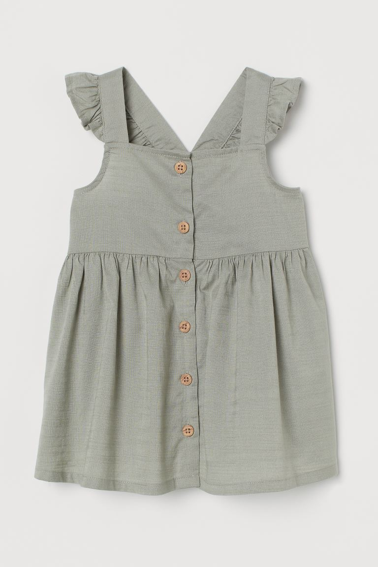 Cotton Dress - Light khaki green - Kids | H&M US