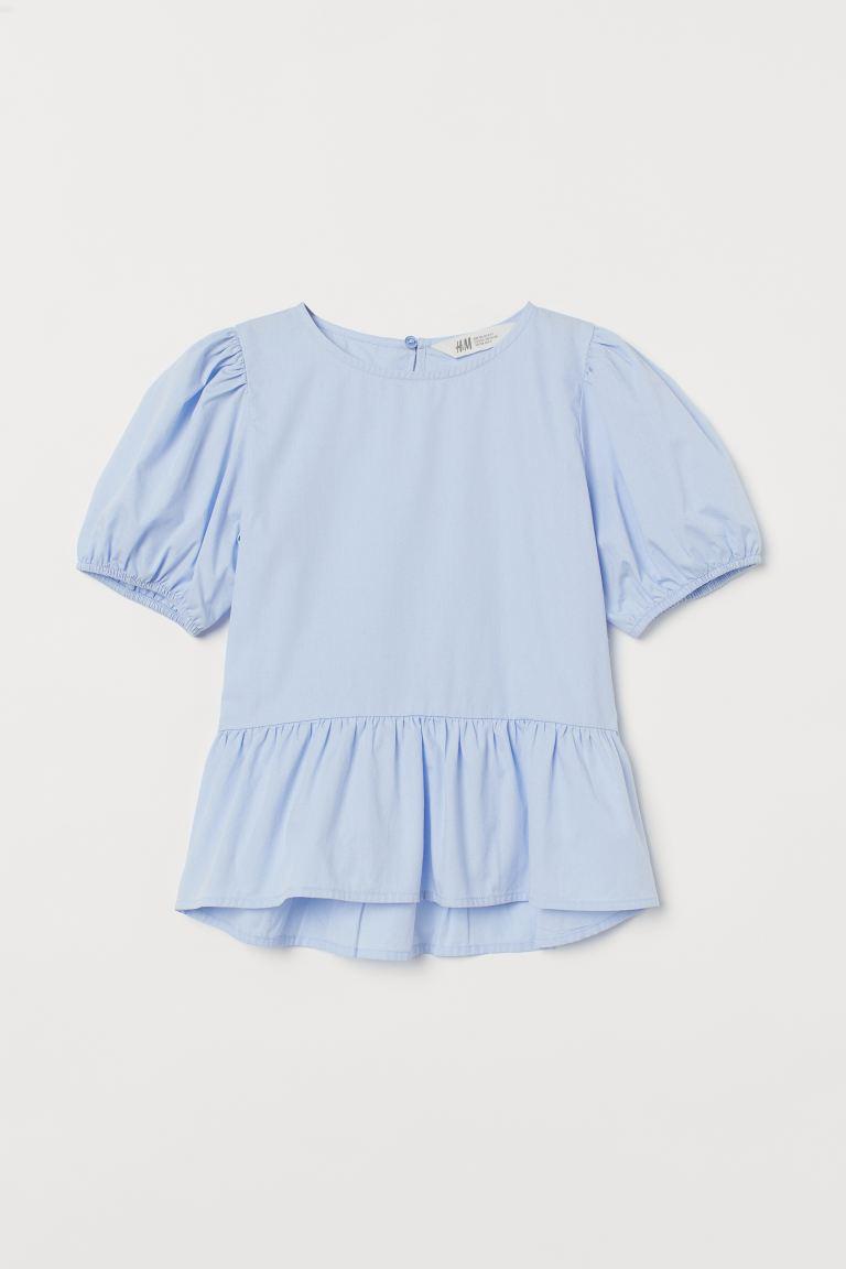 Puff-sleeved peplum blouse