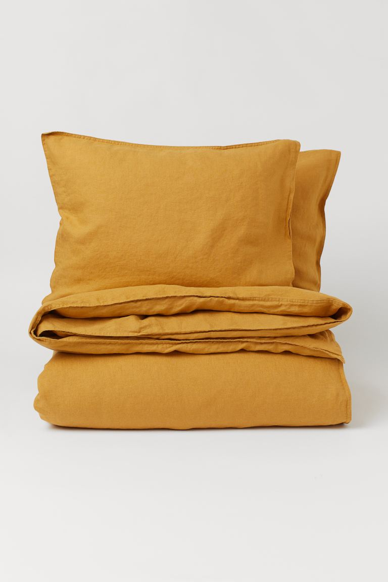 Washed Linen Duvet Cover Set - Dark yellow - Home All | H&M CA
