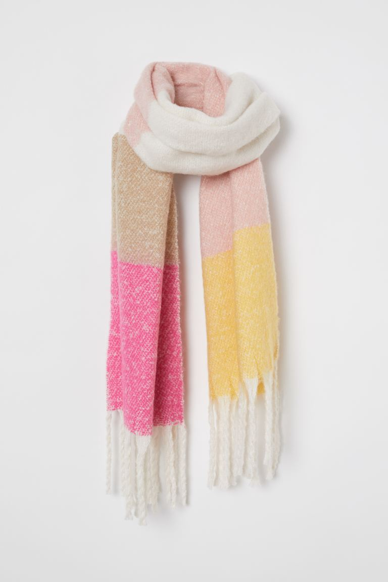 Brushed-finish scarf - Pink/Striped - Ladies | H&M IE