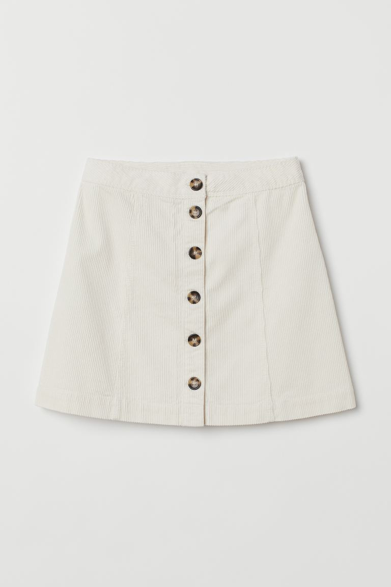 A-line Skirt - Natural white/corduroy - Ladies | H&M CA