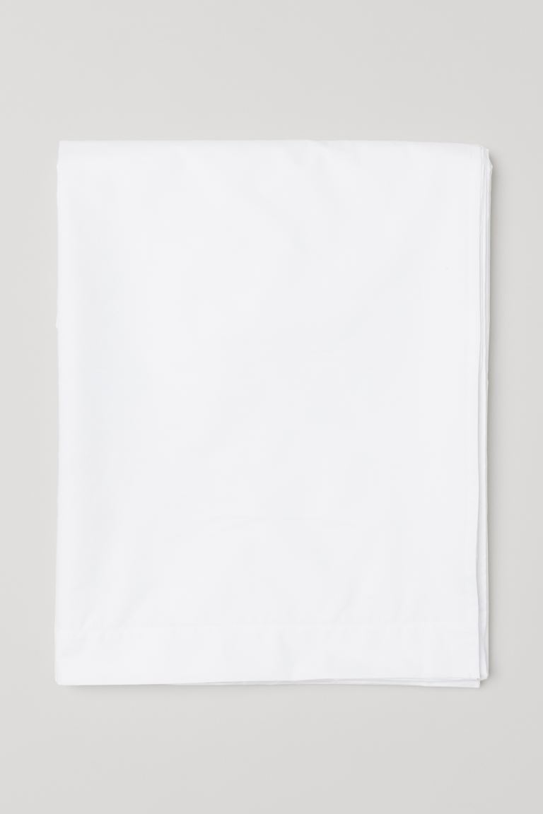 Drap de dessous en percale - Blanc - Home All | H&M CA