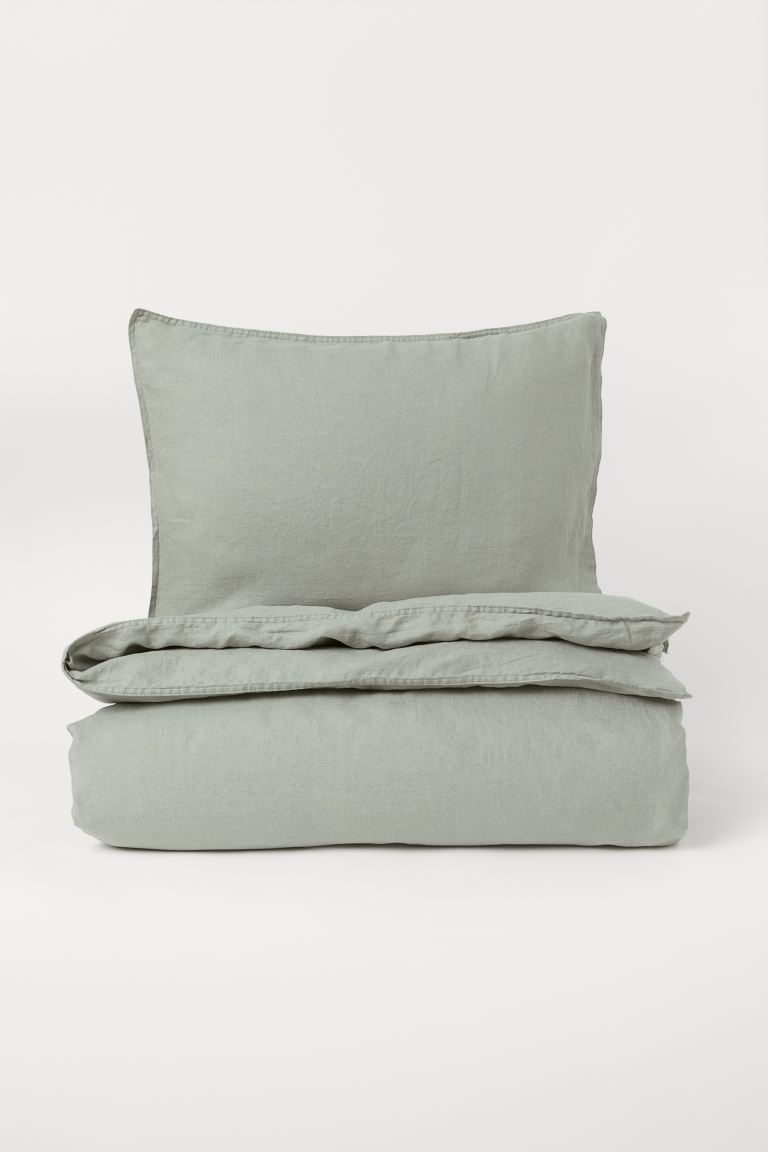 Set copripiumino lino lavato - Verde salvia - HOME | H&M IT