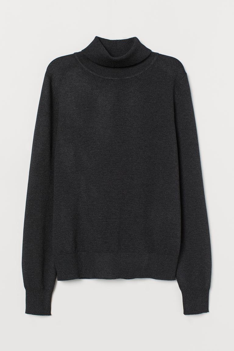 Fine-knit polo-neck jumper