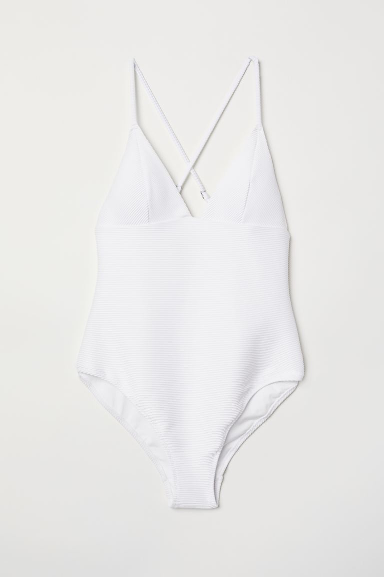 Ribbed swimsuit - White - Ladies | H&M GB