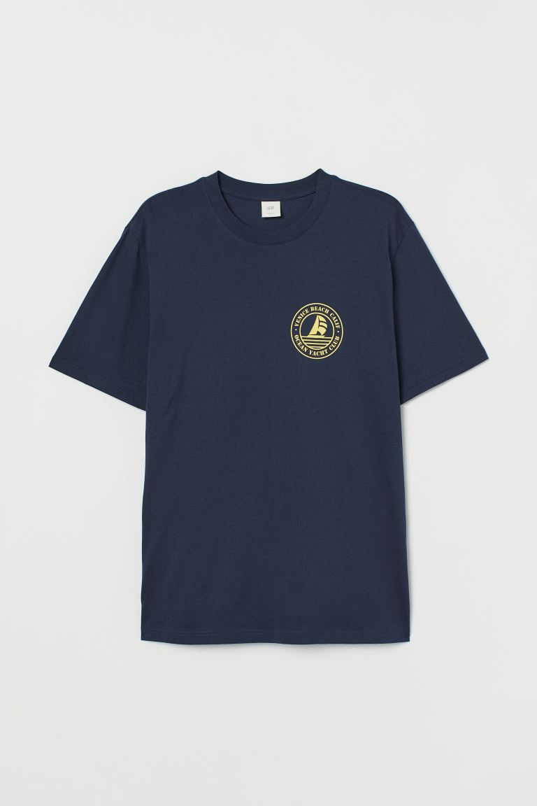 Printed T-shirt - Dark blue/Venice Beach - Men | H&M IN
