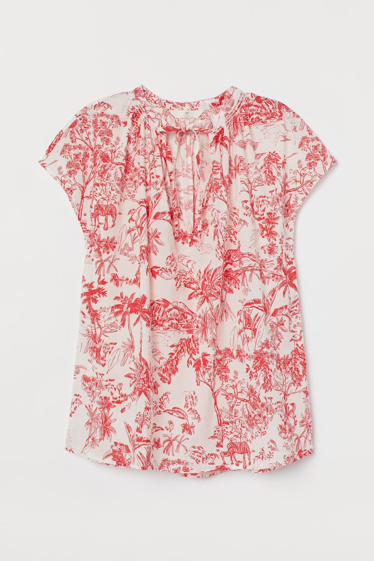 Tie-collar Cotton Blouse - White/red patterned - Ladies | H&M US