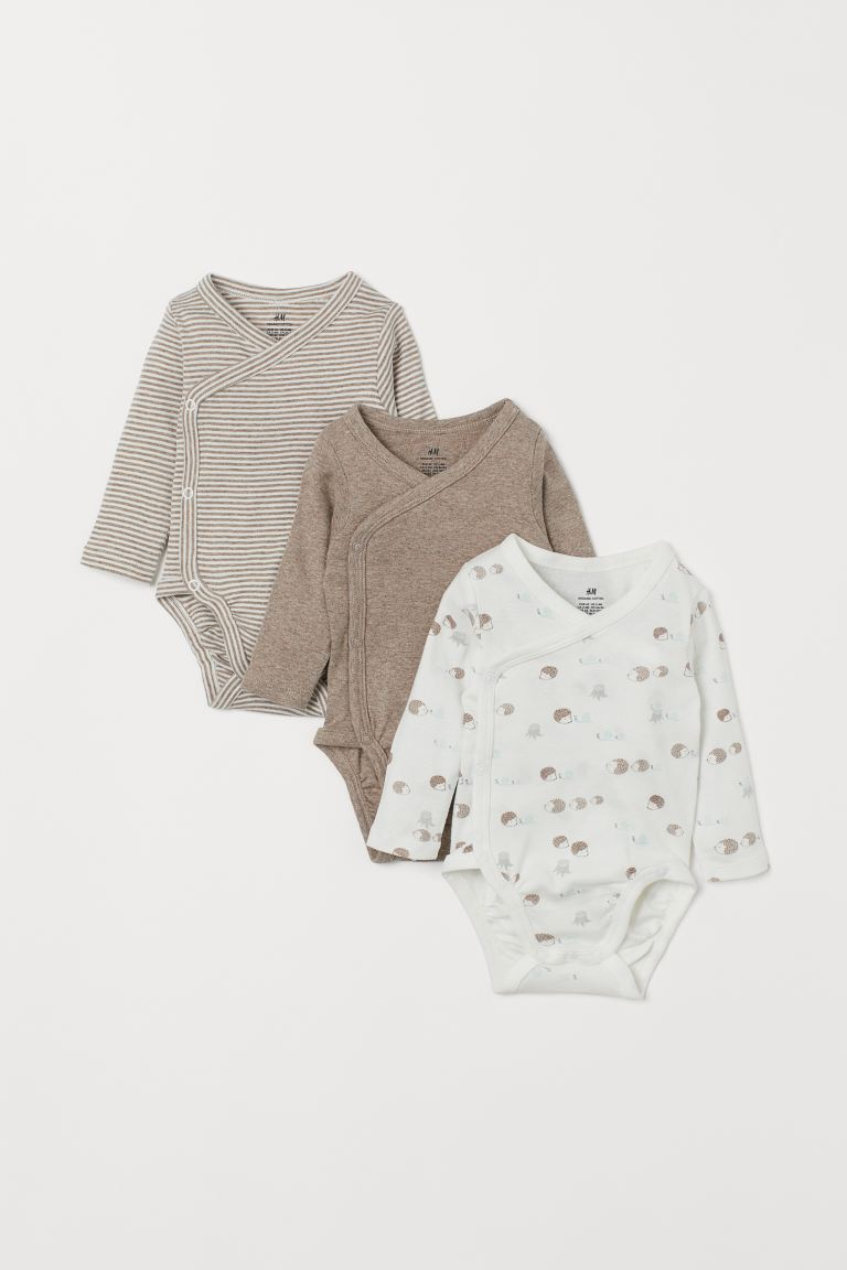 3-pack long-sleeved bodysuits - White/Hedgehogs - Kids | H&M