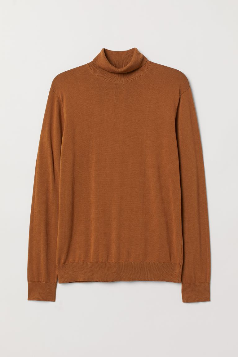 Premium cotton polo-neck - Brown - Men | H&M