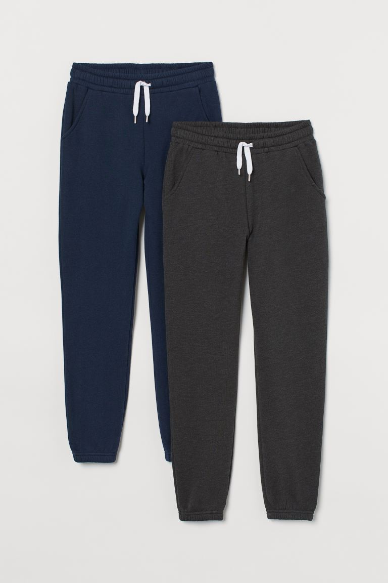 2-pack Sweatpants - Dark blue/light gray melange - Kids | H&M US