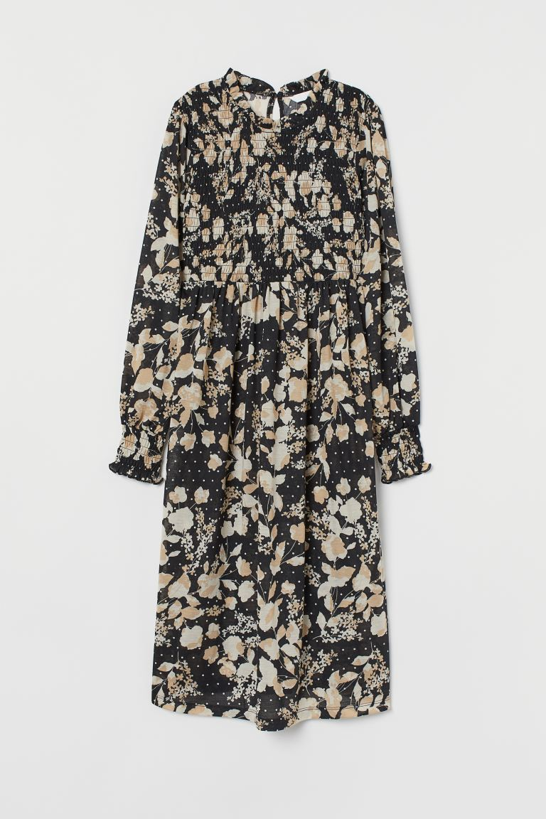 MAMA Dress with smocking - Black/Floral - Ladies | H&M GB