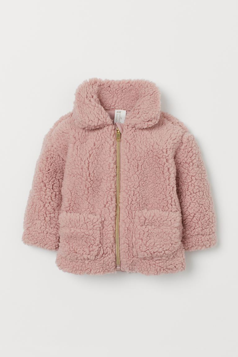 Collared Faux Shearling Jacket - Light pink - Kids | H&M US
