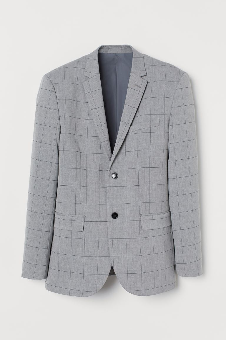 Slim Fit Blazer - Light gray/plaid - Men | H&M US