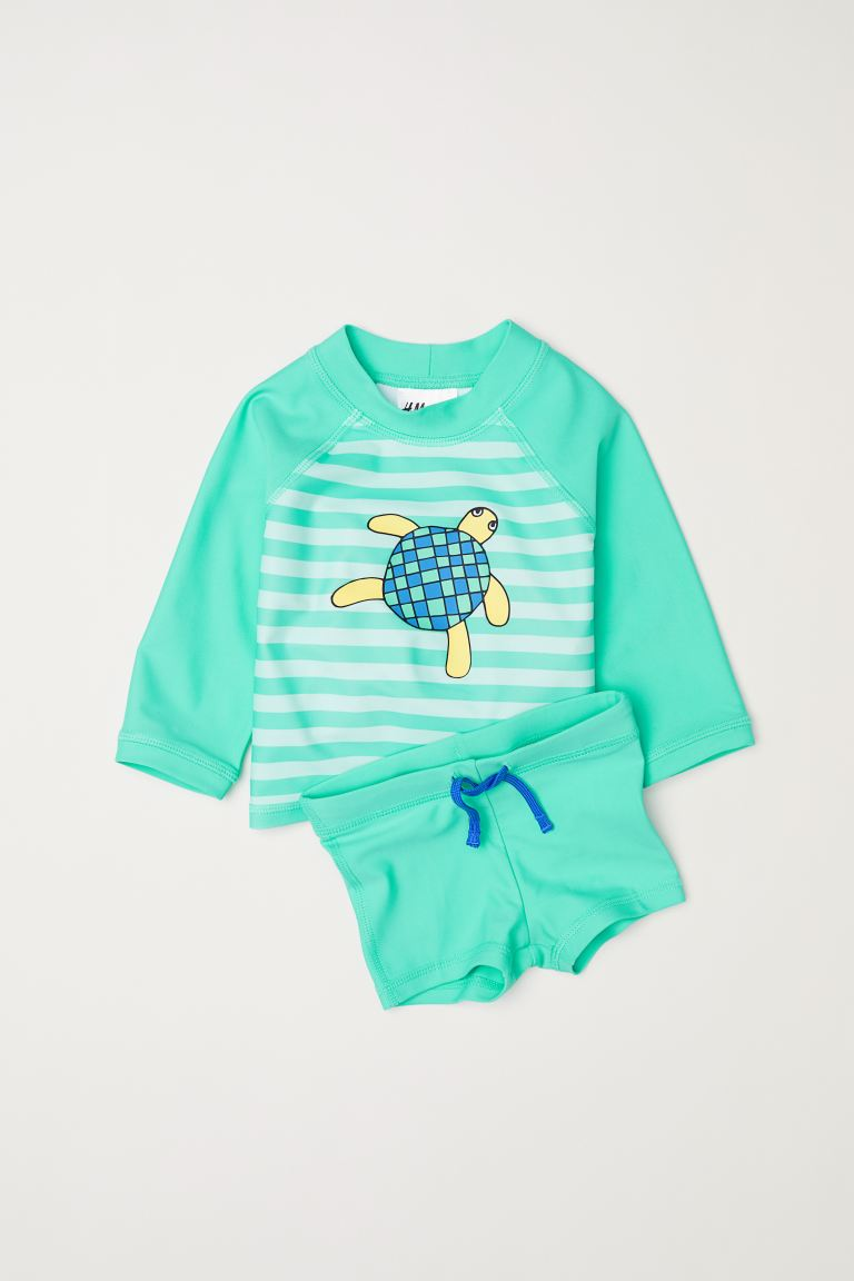 Swim set with UPF 50 - Light green - Kids | H&M GB