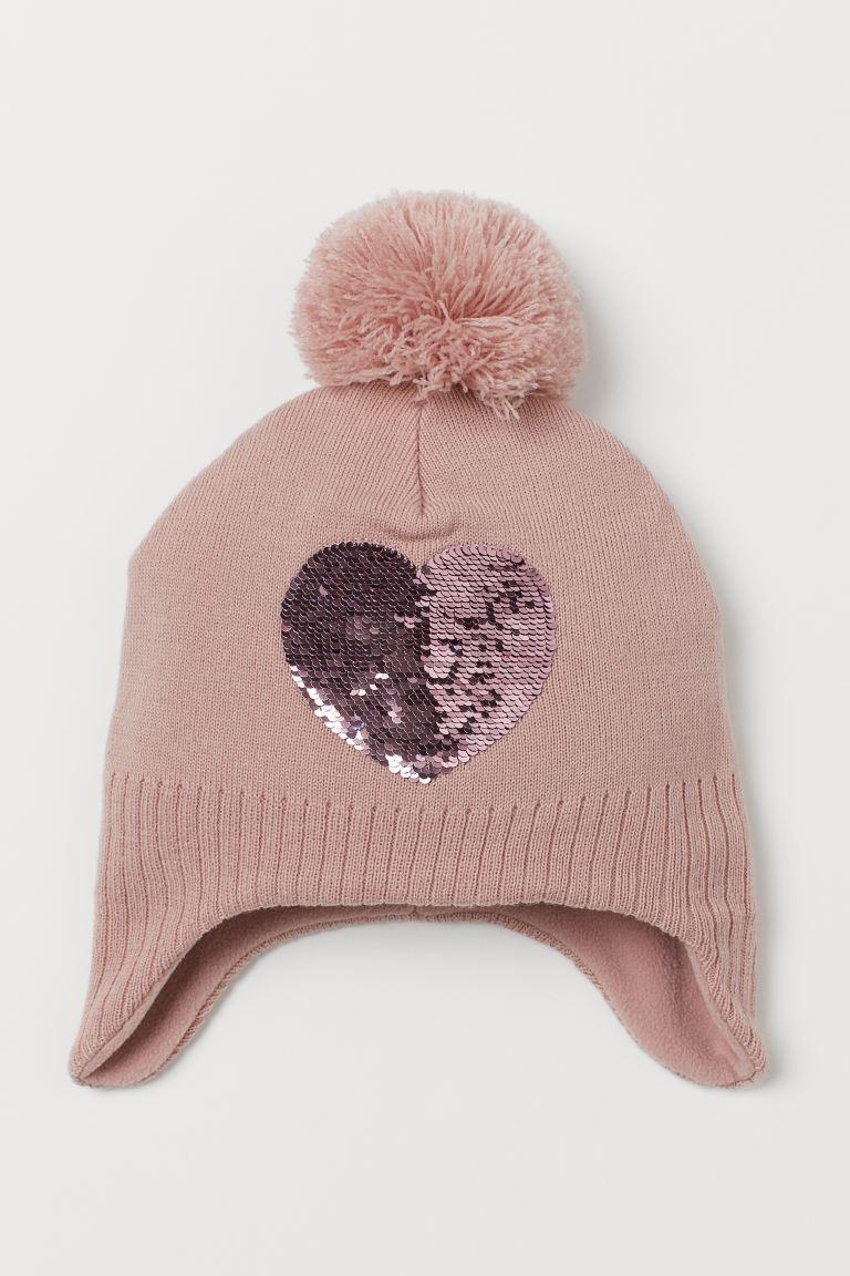 Sequin-motif earflap hat