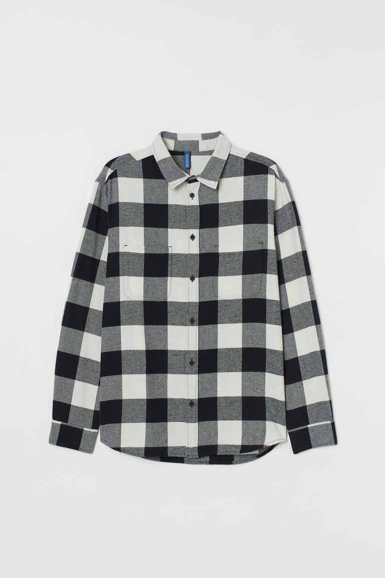 Cotton flannel shirt - Black/Natural white - Men | H&M