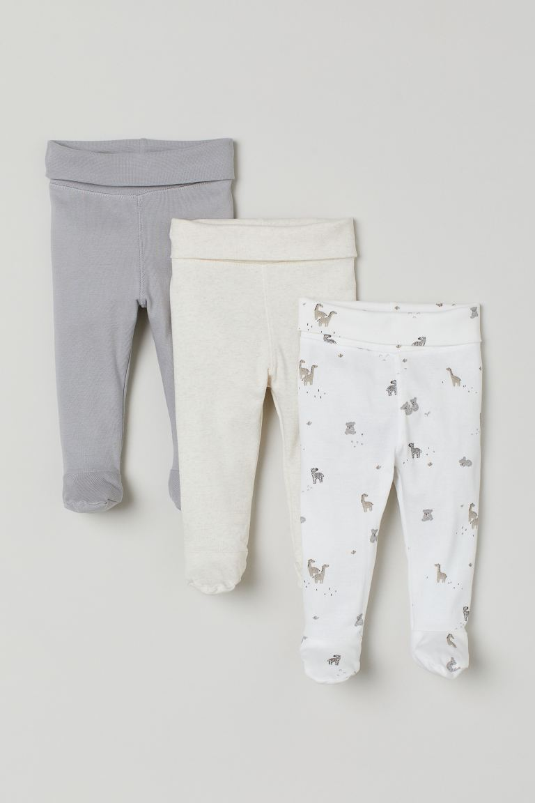3-pack Pants - Light gray/animals - Kids | H&M US