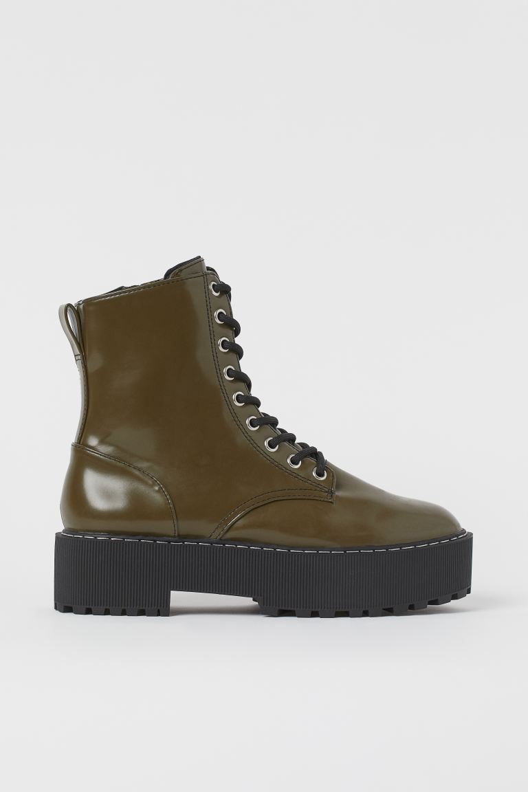 Platform boots - Dark khaki green - Ladies | H&M IN