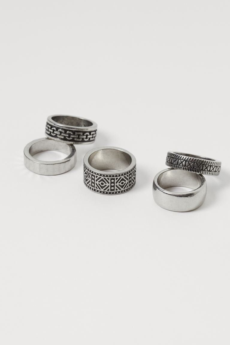 5-pack rings - Silver-coloured - Men | H&M