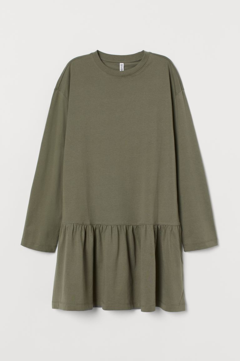 Cotton jersey dress - Khaki green - Ladies | H&M