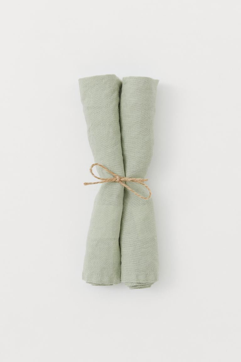 Serviettes en lin, lot de 2 - Vert ancien - HOME | H&M BE