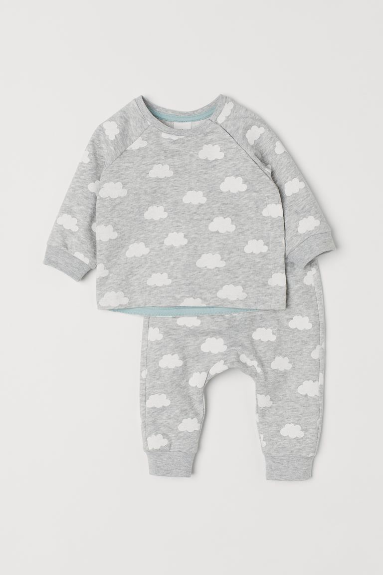 Sweatshirt and trousers - Light grey marl/Clouds - Kids | H&M GB
