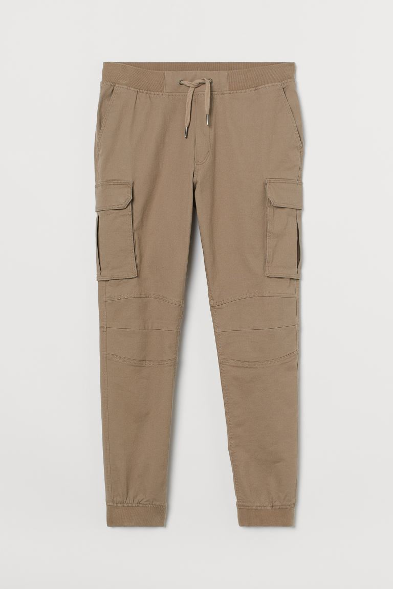 Cotton cargo joggers - Beige - Men | H&M IN