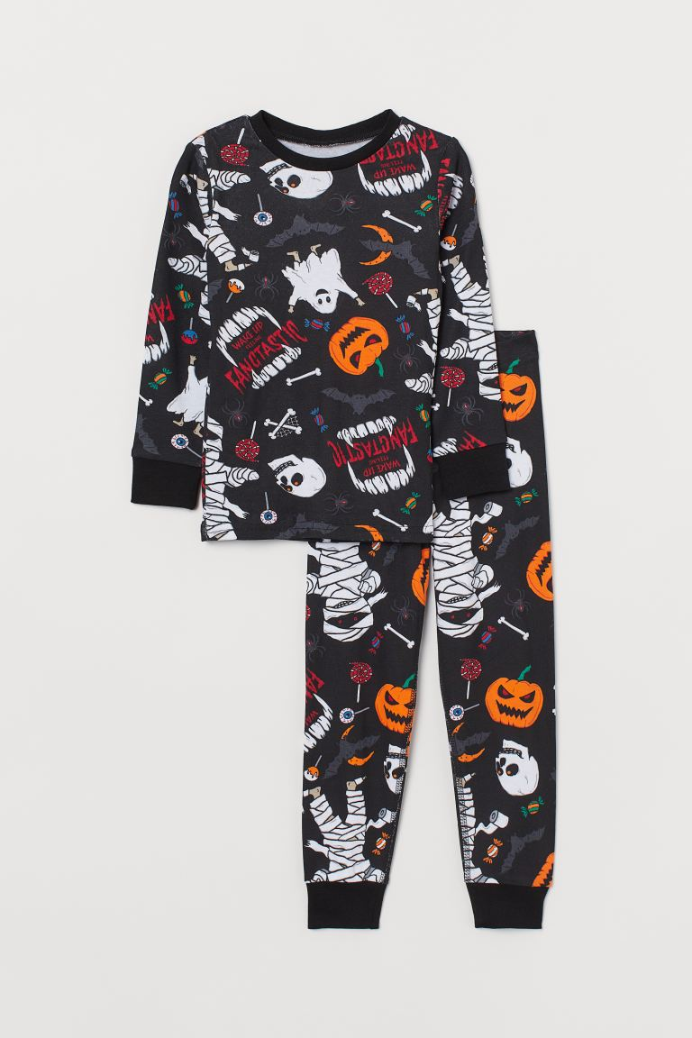 Jersey pyjamas - Black/Pumpkins - Kids | H&M
