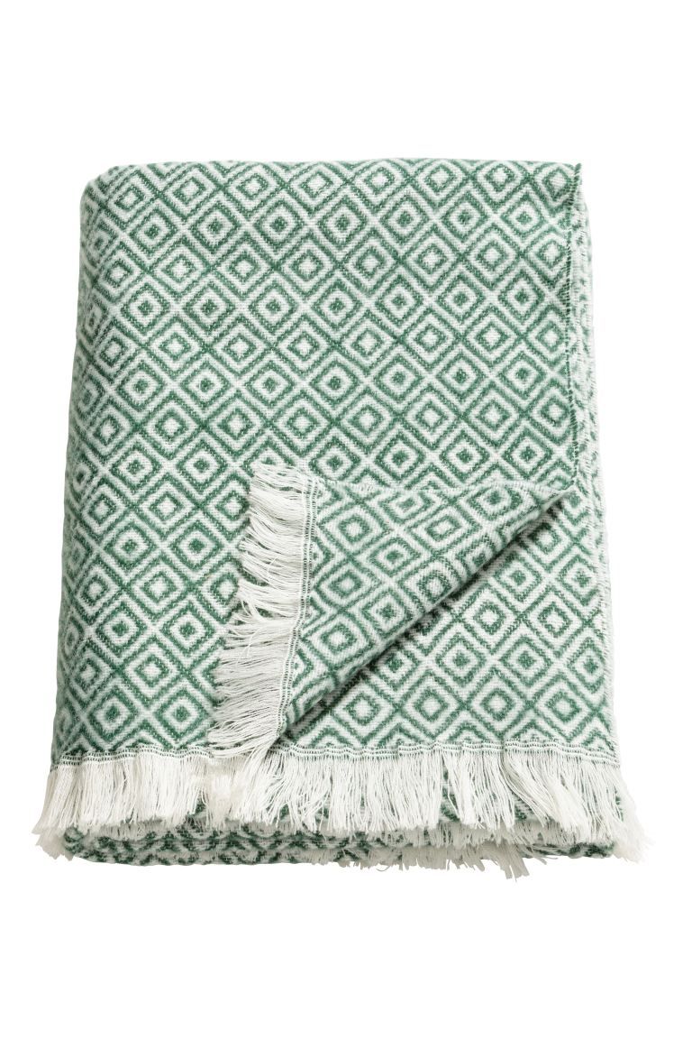 Patterned wool-blend blanket - Green/White patterned - Home All | H&M GB