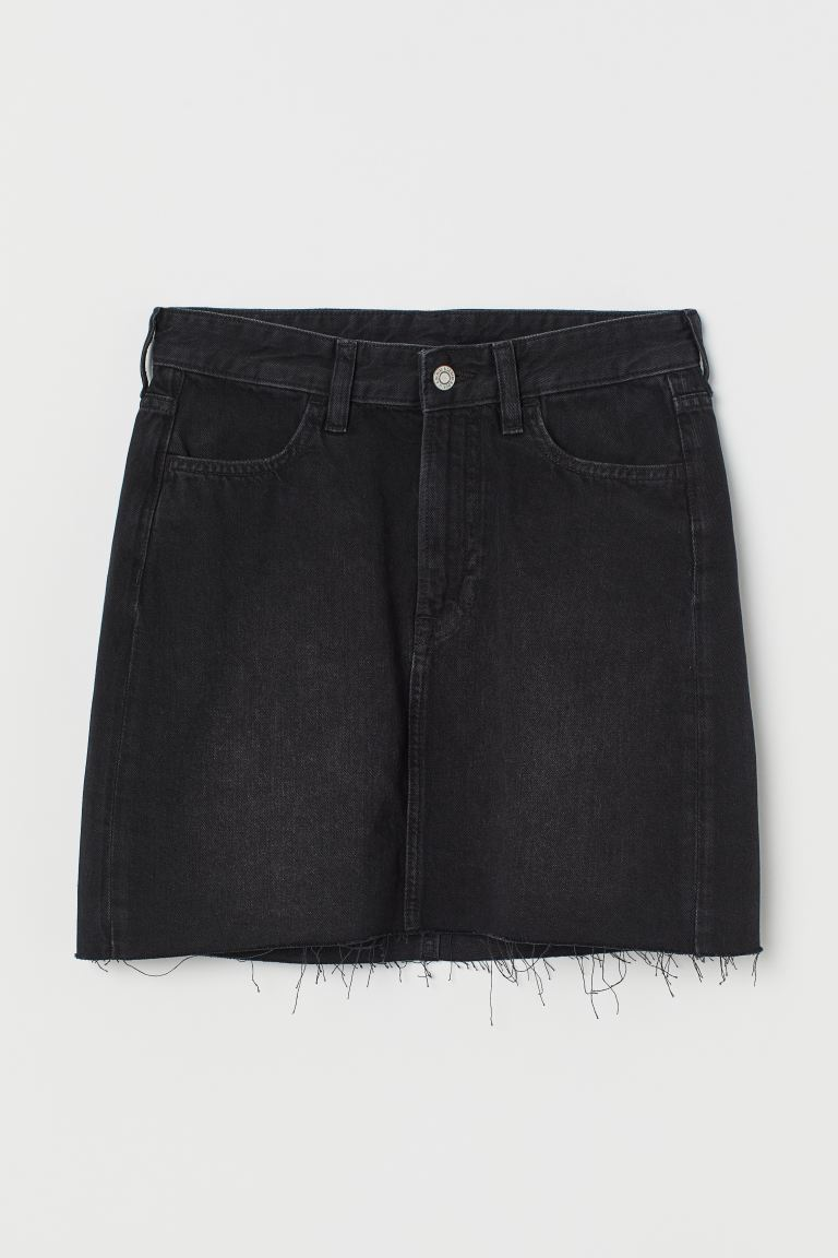 Denim skirt - Black/Washed - Ladies | H&M GB