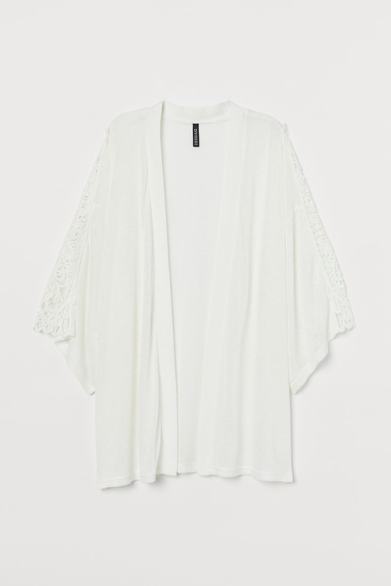 Lace-embroidered cardigan - White - Ladies | H&M IN