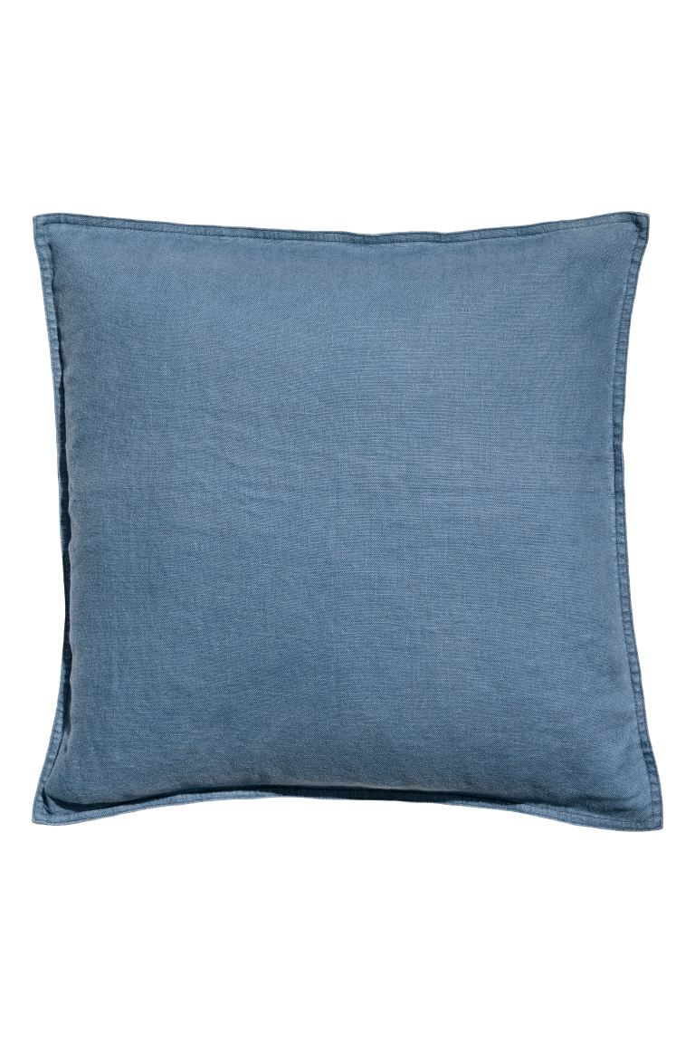 Washed Linen Cushion Cover - Blue - Home All | H&M US
