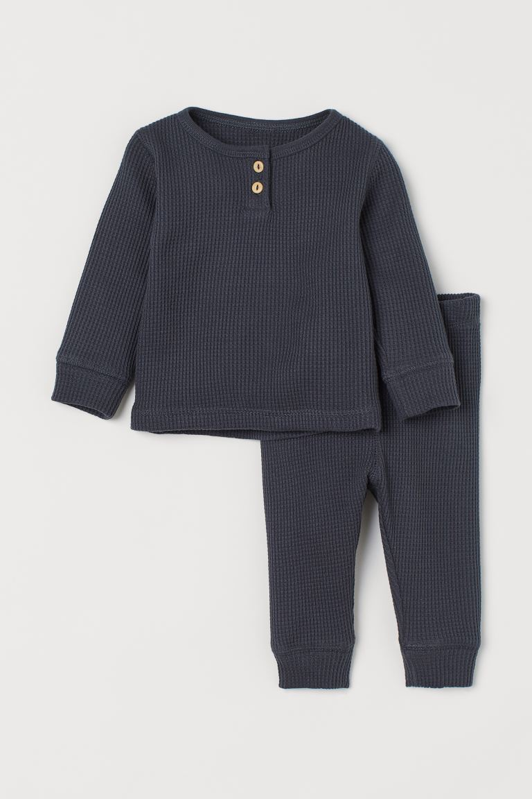 2-piece Waffled Jersey Set - Dark blue - Kids | H&M CA